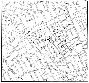 Original map by John Snow showing the clusters of cholera cases in the London epidemic of 1854. The pump is located at the intersection of Broad Street and Cambridge Street.